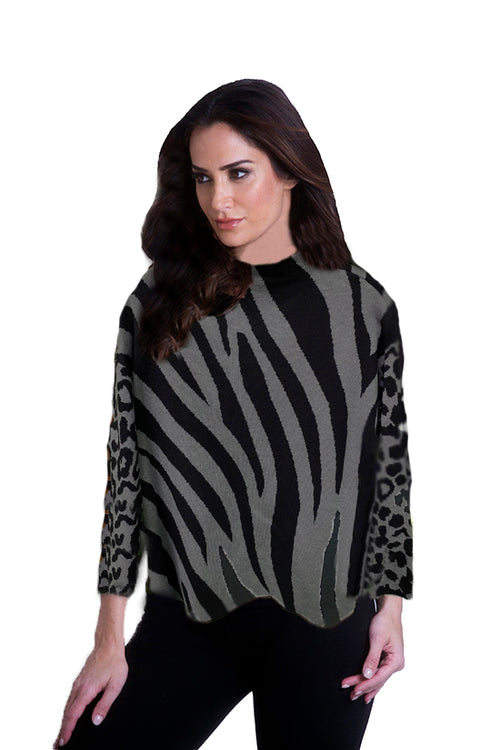 Zebra Mock Sweater