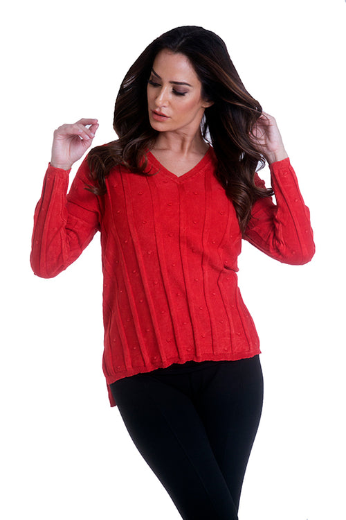 V Neck Slub Sweater