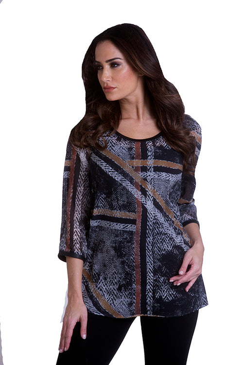 3/4 Crew Neck Tunic with Trim