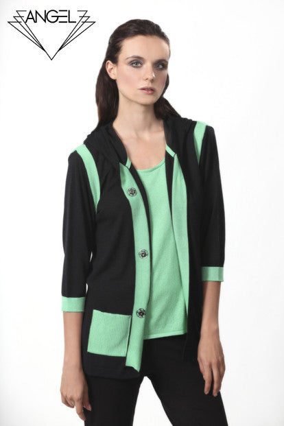 Patch Pocket Hooded Cardigan