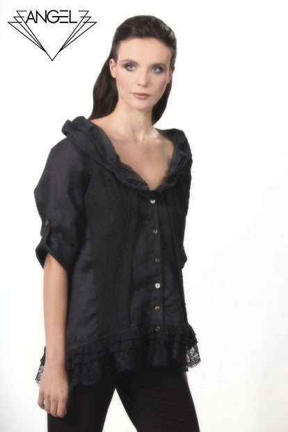 Lace-Trim Faux Layered Cardigan