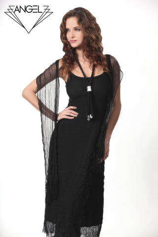 Sheer Detail Maxi Dress W/ Embroidery Necklace