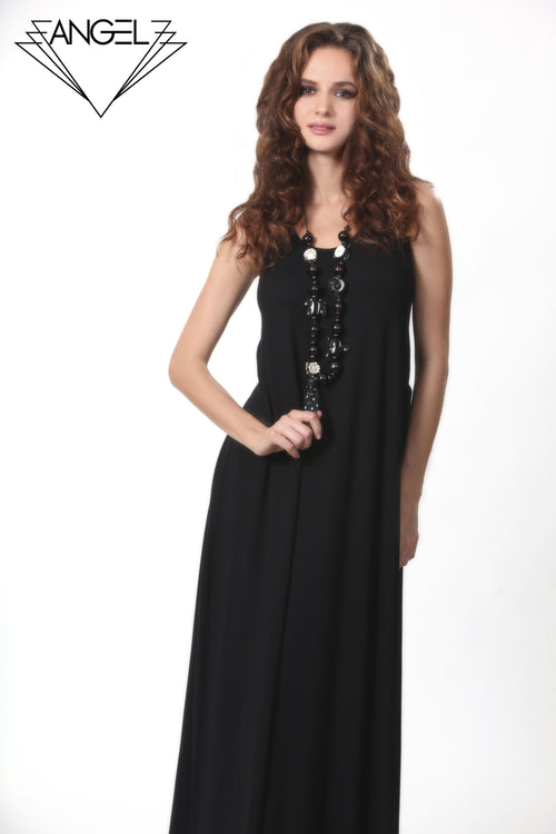 Back Buckle Maxi Dress w/Necklace