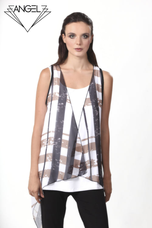 Plaid Grid Waterfall Vest