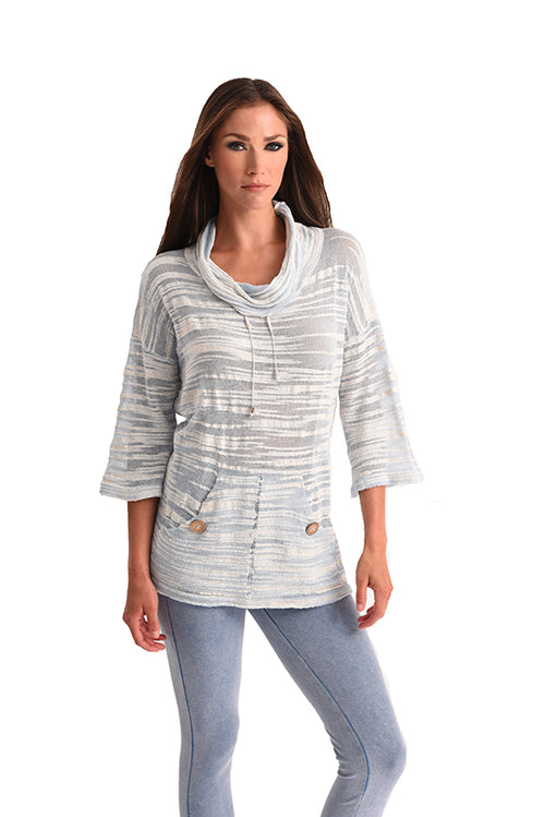Pocket Cowl Neck 3/4 Sleeve Tunic