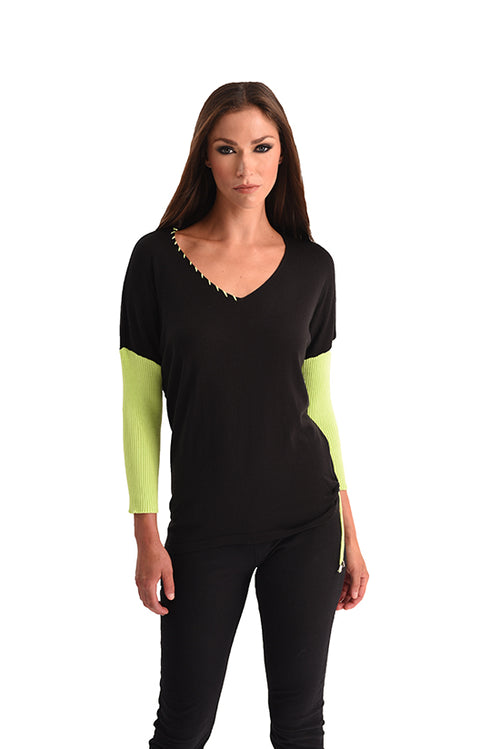Rib Sleeve V-Neck Top