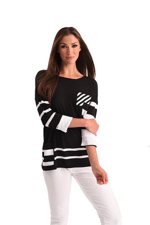 Multi Stripe 3/4 Sleeve Top