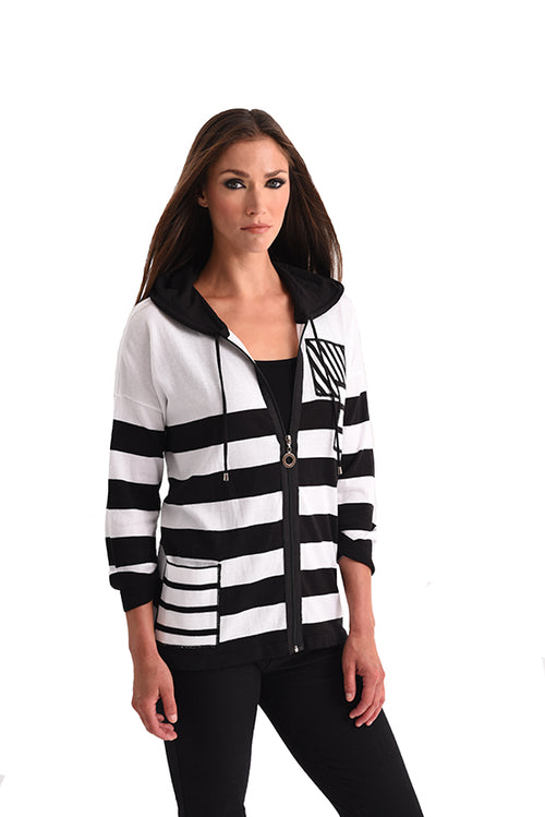 Multi Stripe Sleeve Hooded Cardigan