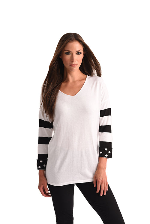 Polkadot & Stripe Sleeve Top