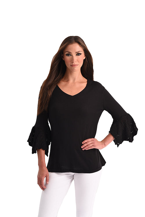 Crochet Bell Sleeve V-Neck Top
