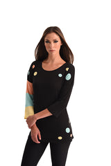 Multi Color Polkadot Stripe Sleeve Top