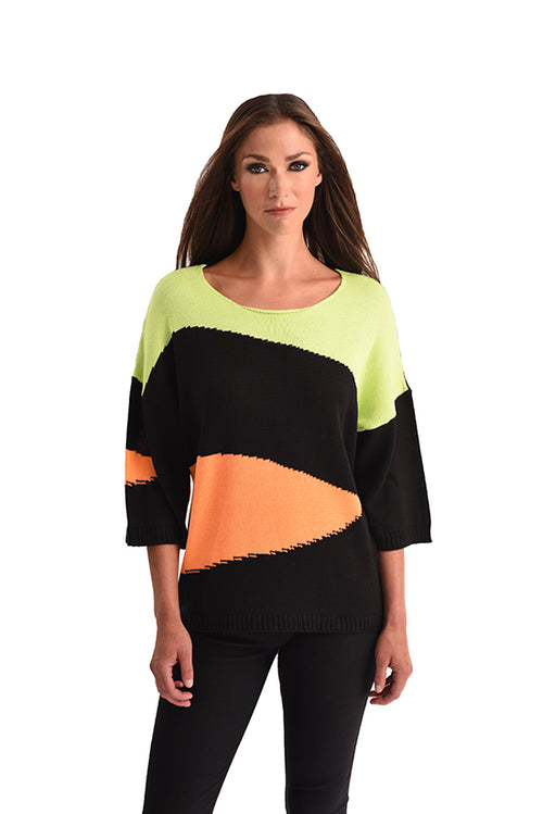 Abstract 3/4 Sleeve Sweater