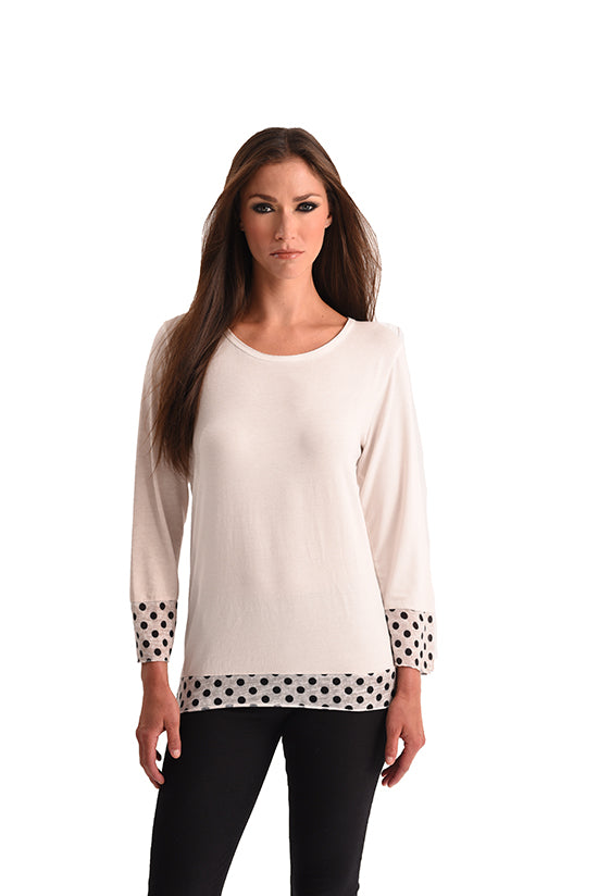 Long Sleeve Polkadot Top