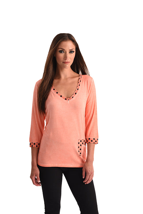 Polkadot V-Neck with Pocket
