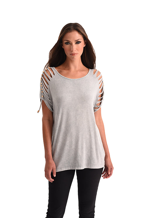 Stone Wash Cut Out Beaded Top