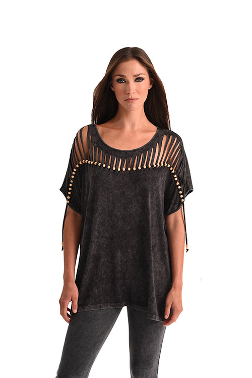 Stone Wash Cut Out Tunic