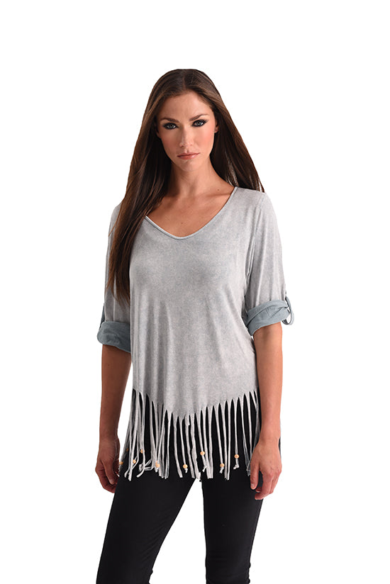 Stone Wash Cut Out Fringe Top