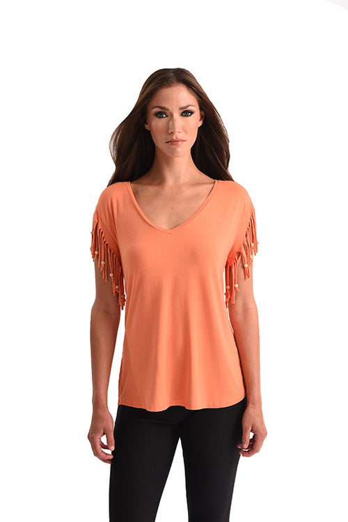 Stone Wash Cut Out Fringe Beaded Sleeve Top