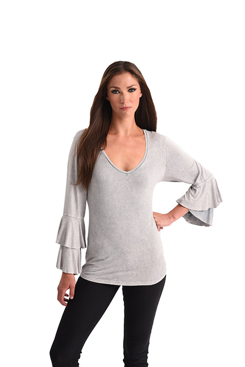 Stone Wash Bell Sleeve Top