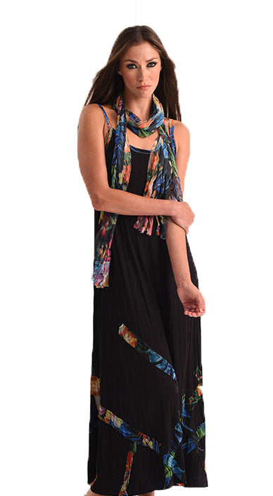 Tropical Paradise Detail Maxi Dress with Scarf