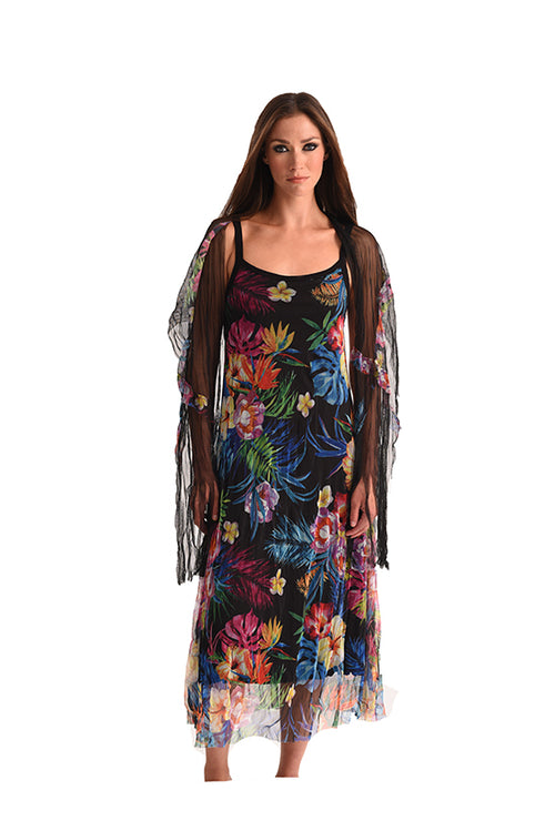 Tropical Paradise Maxi Dress with Scarf