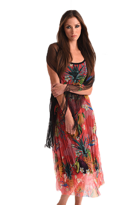 Hawaiian Escape Maxi Dress with Scarf