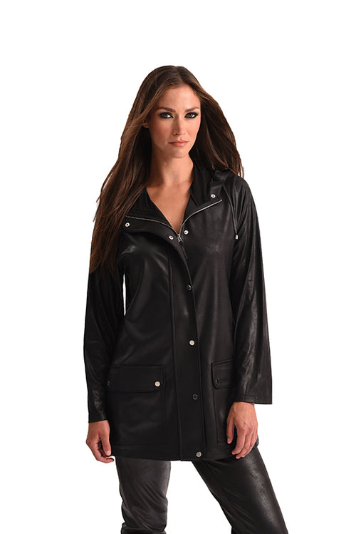 Microfiber Leather Long Hooded Jacket