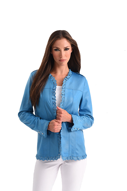Microfiber Leather Laser Cut Open Jacket