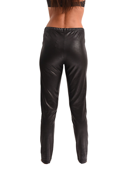 Microfiber Leather High-Waisted Pants