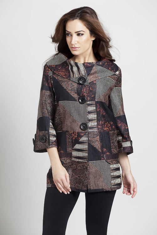 Tapestry Chenille Button Collar Cardigan