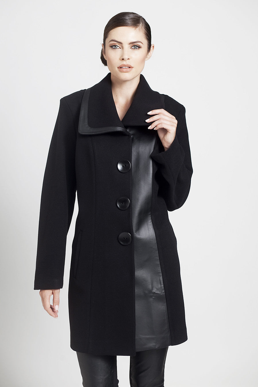 Faux Leather Accent Car Coat