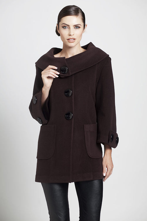Over Sized Collar Long Coat