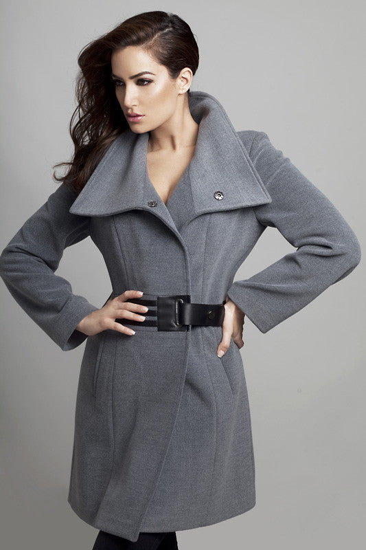 Faux Leather Accent Buckled Coat