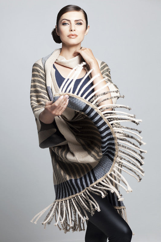 Fringed Poncho Cape & Scarf Set