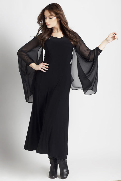 Sheer Bell-Sleeved Dress