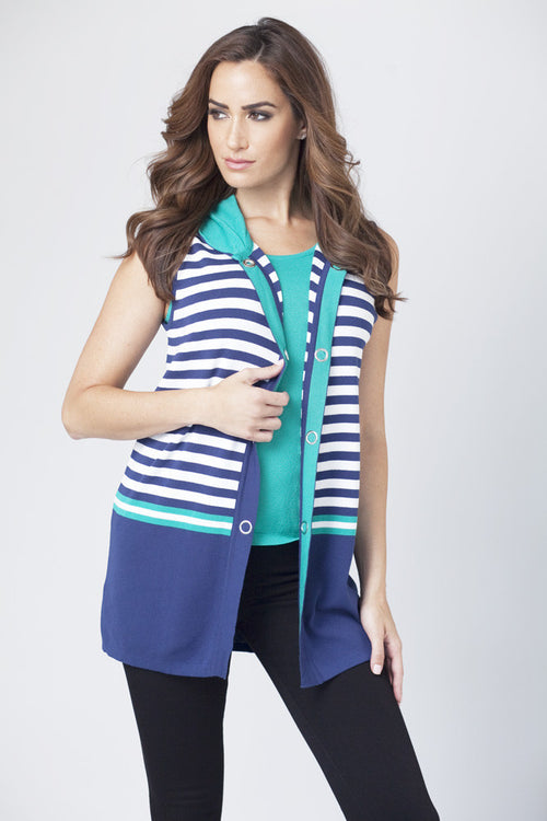Striped Hooded Vest