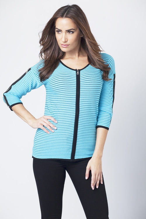Zip-Front Striped Cardigan