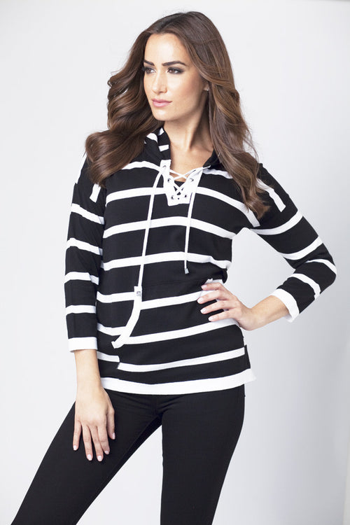 Striped Tie-Front Sweater