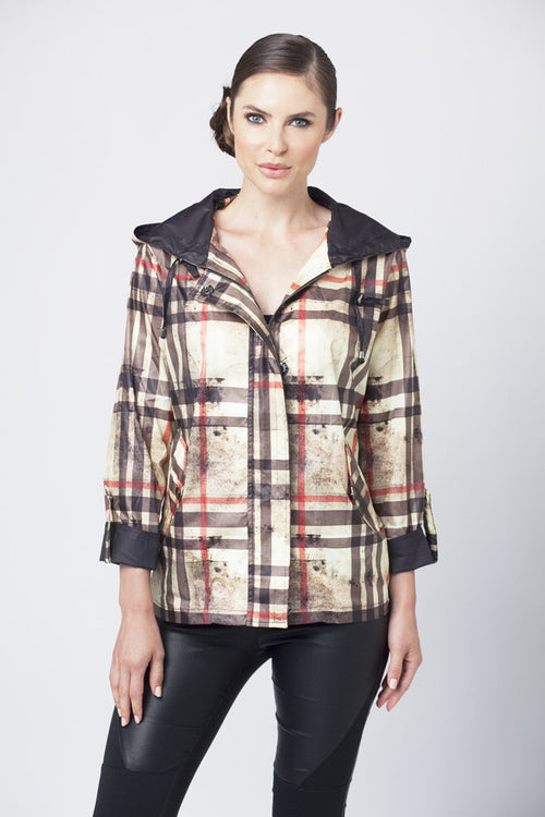 Plaid Hooded Rain Jacket