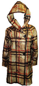 Plaid Side Button Long Hooded Rain Jacket