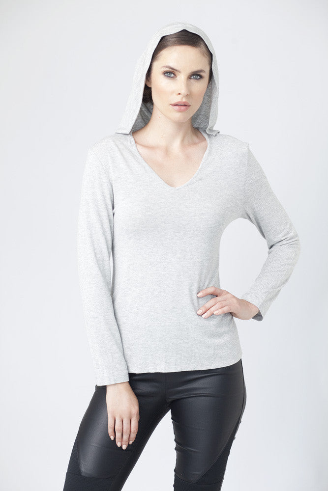 Hooded V-Neck Top