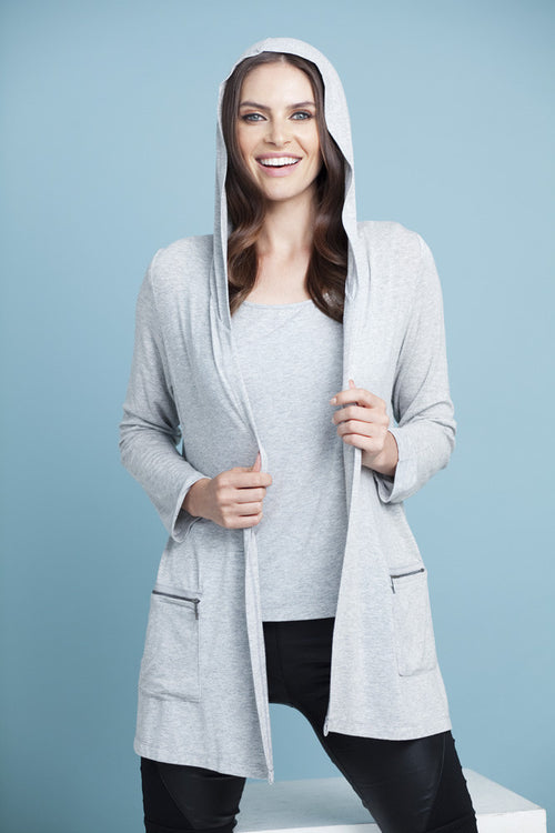 Hooded Zip Pockets Cardigan