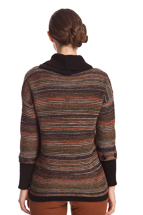 Striped Detachable Sleeve Pullover