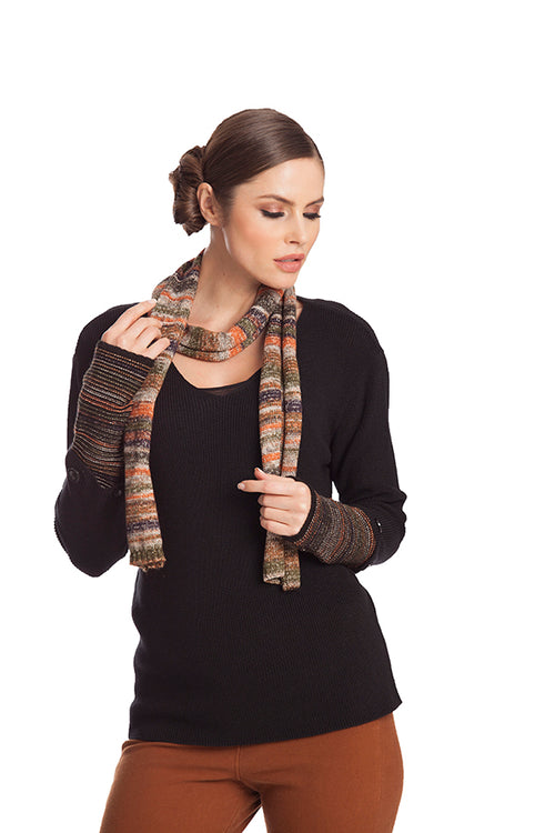 Striped Detachable Sleeve Top W/ Scarf