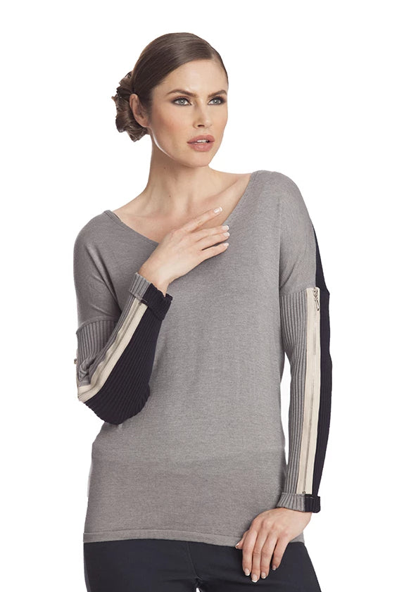 V-Neck Zipper Sleeve Sweater