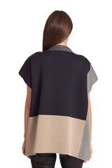 Color Block Zip Poncho
