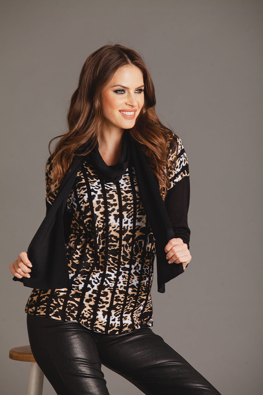 Leopard Ribbed Sweater W/ Scarf