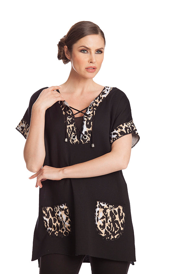 Leopard Tie Up Poncho