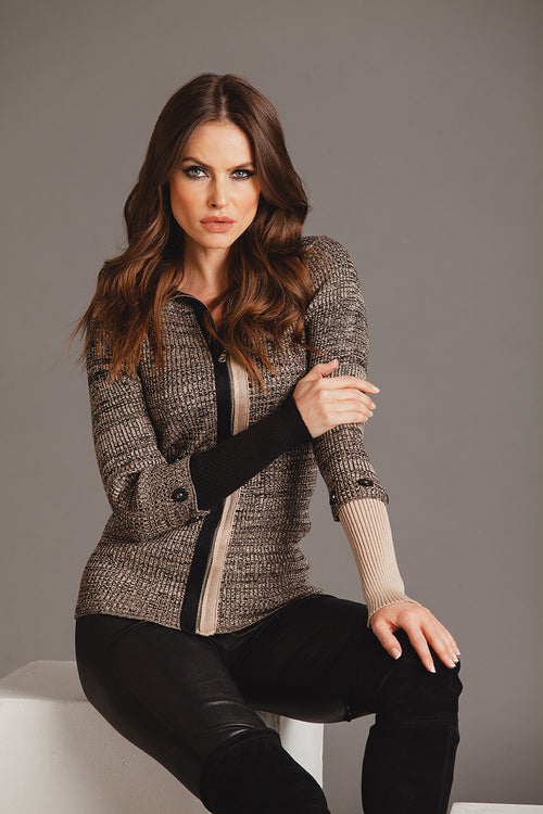 Ribbed Zip Cardigan W/ Detachable Sleeve