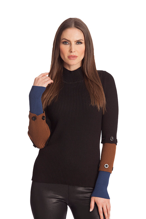 Ribbed Mock Neck Detachable Sleeve Sweater